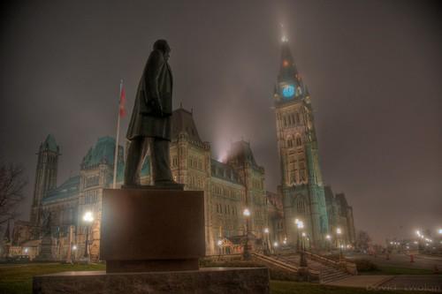 ontario canada fog ottawa hill parliament block hdr photomatix cenre