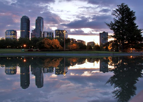 park reflection skyline sunrise washington downtown wa bellevue