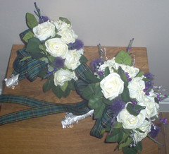 *fiona 137 pkg* a brides & adult bridesmaids scottish bouquets of roses/thistles & bling/crystals | by WWW.FLOWERGEM4U.CO.UK