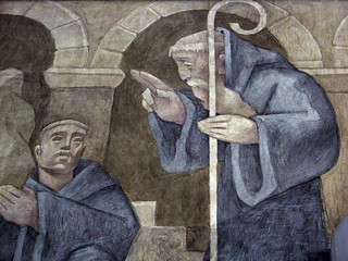 St. Benedict detail in fresco - plain version | by Randy OHC