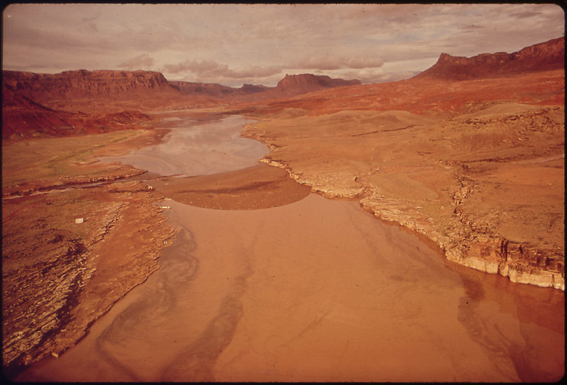Aerial View Upstream of Boom Site in Monument Valley, Utah Where Oil Spill Into the San Juan River Was Contained before Flooding Caused Overflow of Oil and Debris Into Lake Powell, 10/1972