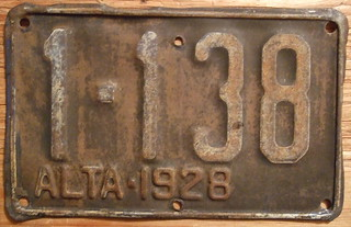 ALBERTA 1928 STEAM TRACTOR plate LAST ISSUE?