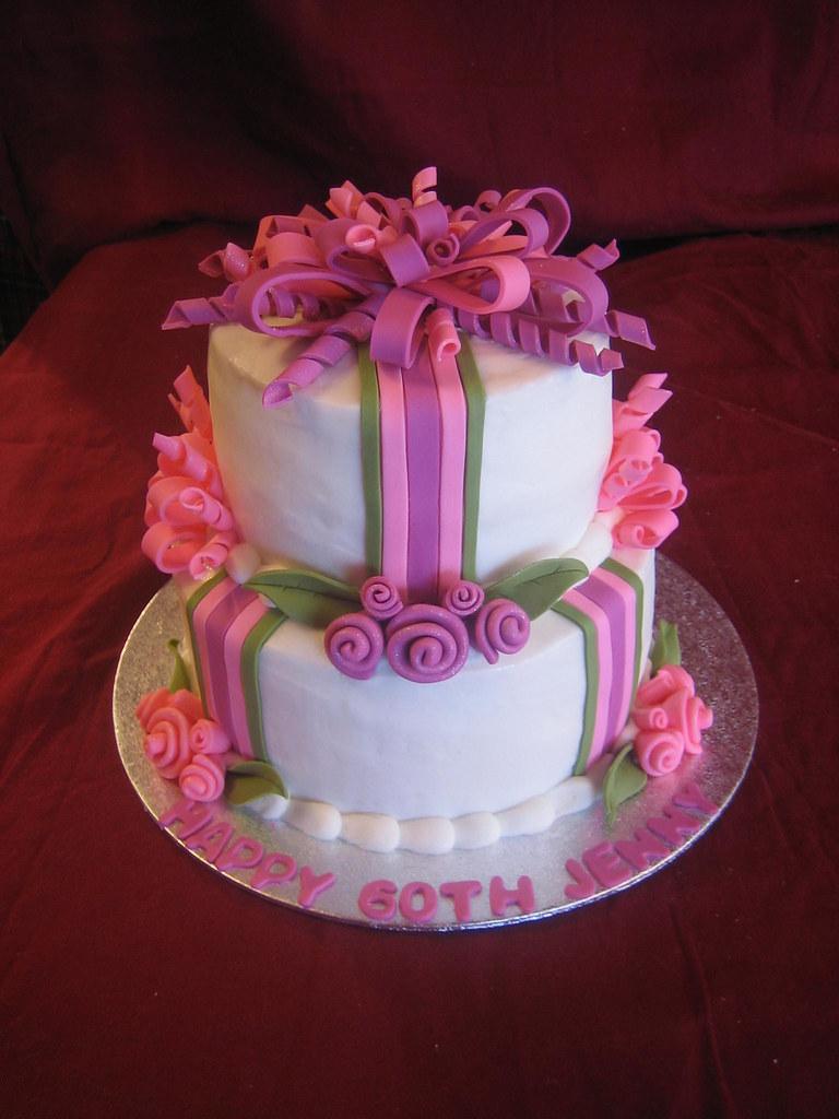 Awe Inspiring 60Th Birthday Cake 60Th Birthday Cake With Fondant Ribbon Flickr Personalised Birthday Cards Petedlily Jamesorg