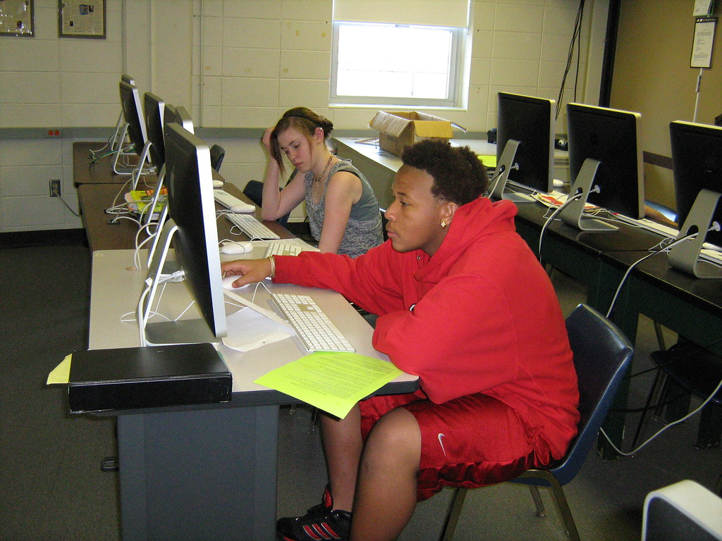 Students researching in the new lab