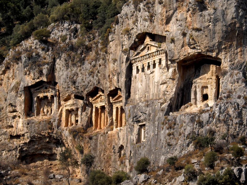 Rock-carved tombs at Kaunos