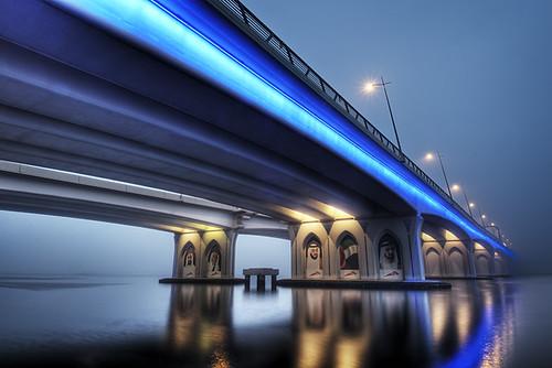 bridge fog dubai uae foggy emirates vanishing unitedarabemirates hdr d300 businessbaybridge catalinmarin momentaryawecom