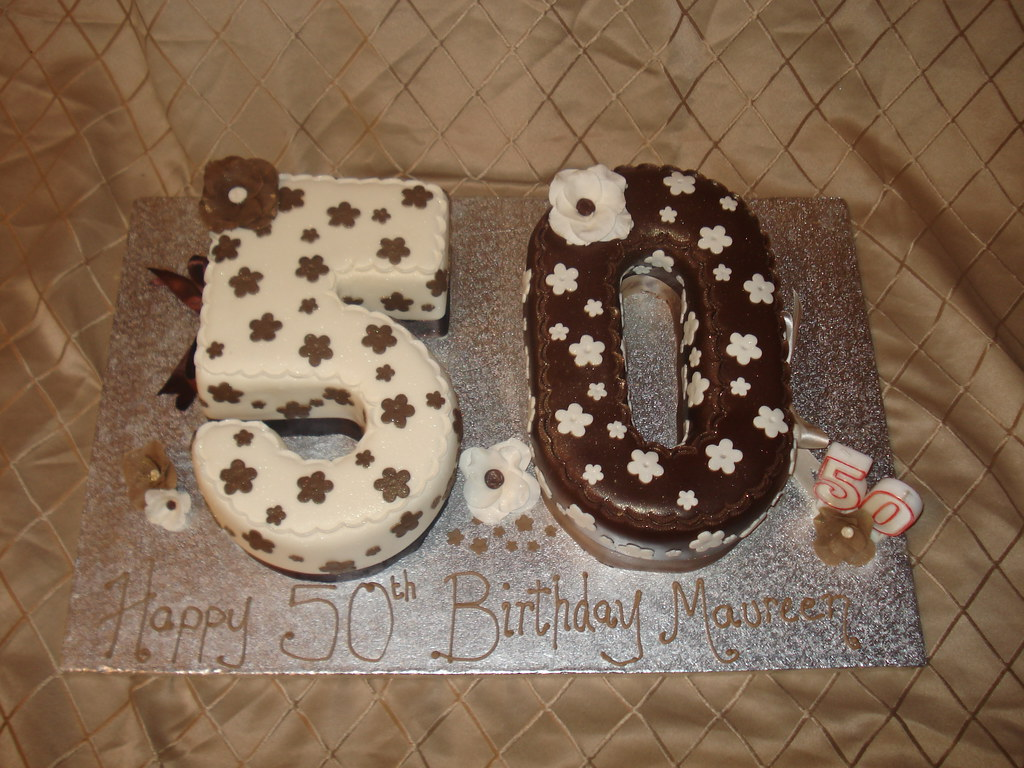 Wondrous 50Th Birthday Cake Brown And Cream 50Th Cake The Brown Si Flickr Personalised Birthday Cards Beptaeletsinfo