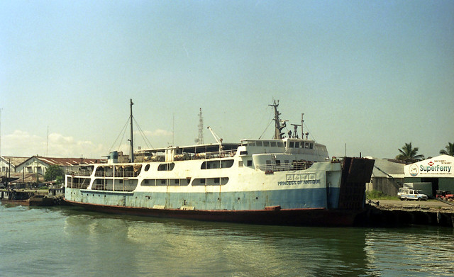 The passenger and vehicular ferry Princess of Antique berthed at port of Iloilo City, Panay, Philippines.
