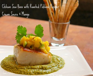 Chilean Sea Bass with Poblano Pepper Cream Sauce and Mango | by Carolyn McCaffrey Stalnaker