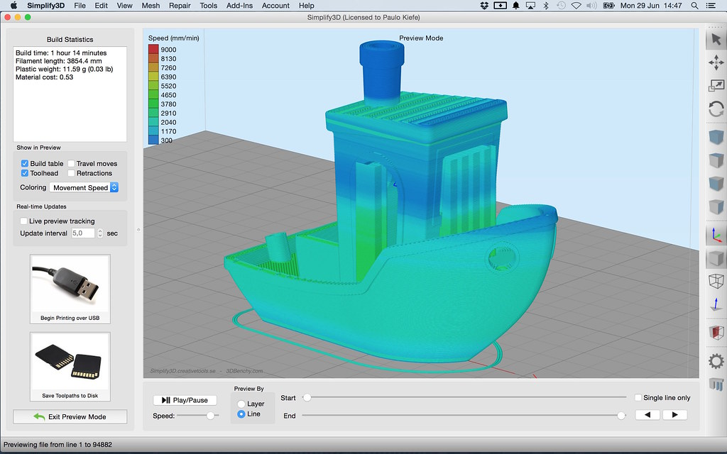 #3DBenchy in Simplify3D 3.0 User Interface - Gcode coloring - Movement Speed