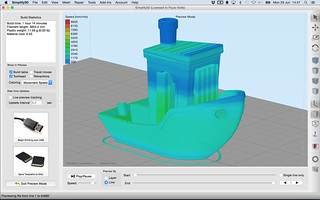 #3DBenchy in Simplify3D 3.0 User Interface - Gcode coloring - Movement Speed | by Creative Tools