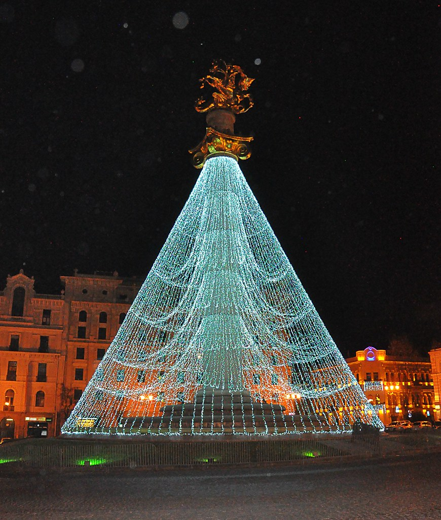 Christmas In Georgia Tbilisi.Freedom Square Christmas Tree Tbilisi Georgia Dec 2016