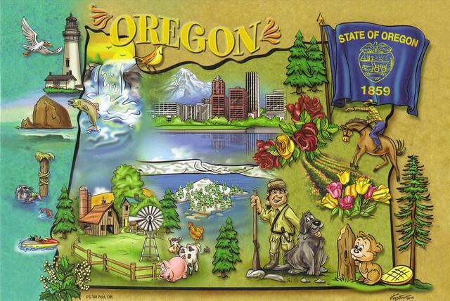 Oregon Cartoon State Map Postcard