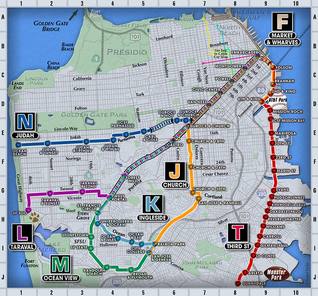 San Francisco MUNI streetcar map. | What is your favorite ur ...