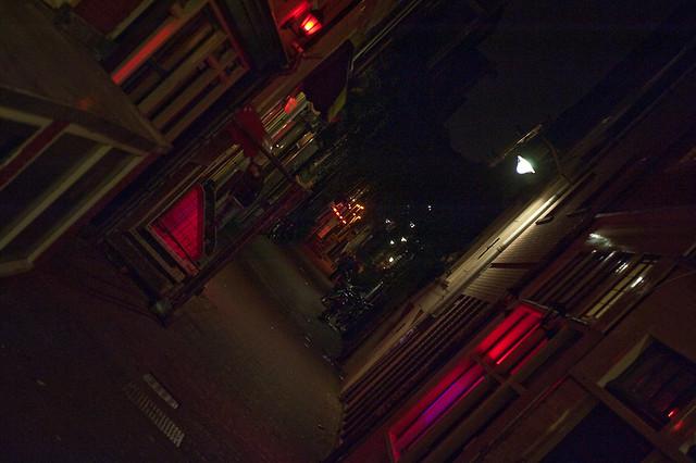 amsterdam's red lights by night