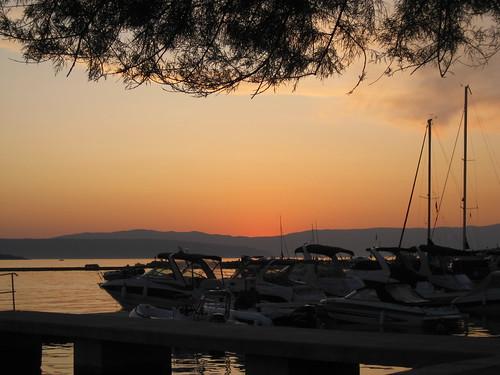 sunset sea croatia krk malinska