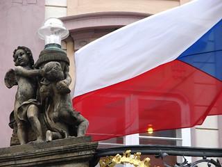 Sculpture with Czech Flag - Prague Castle - Prague, Czech Republic   by Adam Jones, Ph.D. - Global Photo Archive