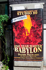 poster in Amsterdam: ONE YEAR WASTED BABYLON