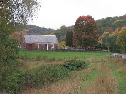 autumn fall landscape pennsylvania farm rainy pasture harmony droversinn mennonitemeetinghouse