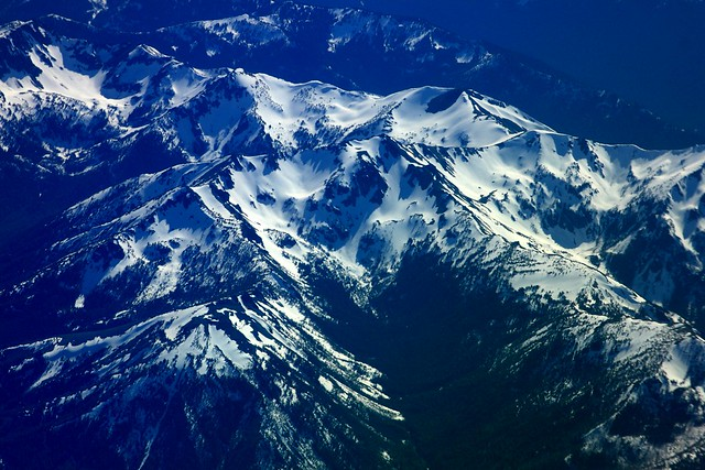 Snow capped Cascade Range north of Mt. Rainier