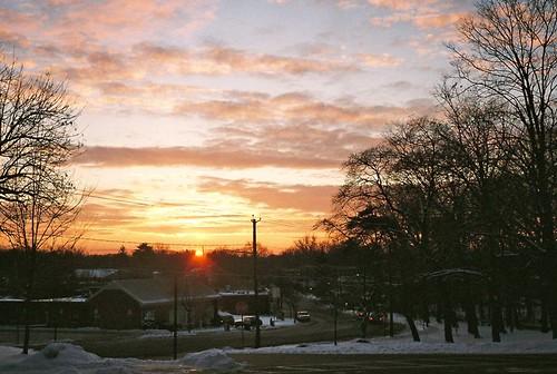 winter snow sunrise newjersey 35mmfilm olympusxa2 2009 bergencounty hohokus