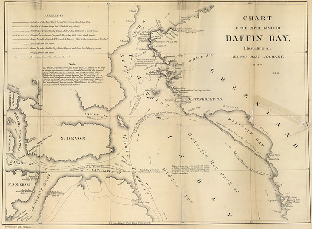 Chart of the Upper Limit of Baffin Bay Illustrating an Arctic Boat Journey in 1854 (1883)
