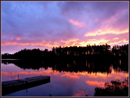 autumn fall sunrise reflections wooden dock michigan basslake gwinn