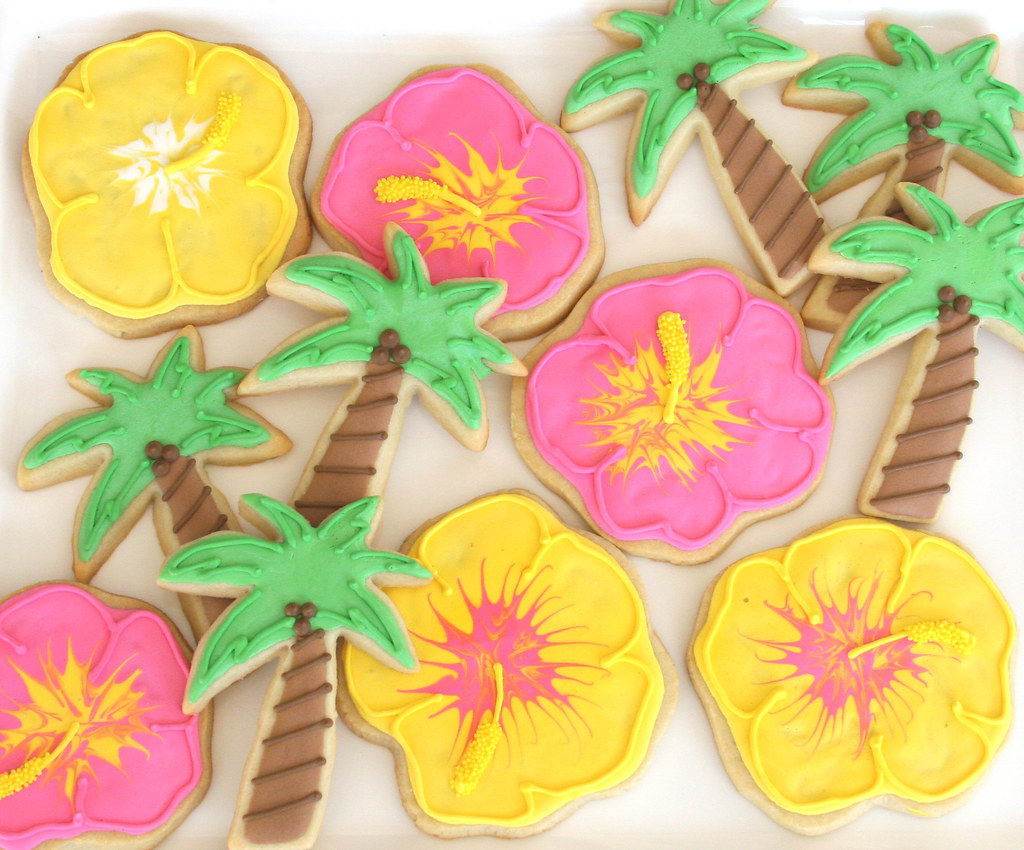 Luau Cookies Hibiscus Flowers And Palm Trees To Be Wrapped Flickr