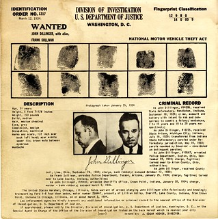 [Recto] Wanted poster: John Dillinger, published by U.S. Department of Justice | by Special Collections at Wofford College