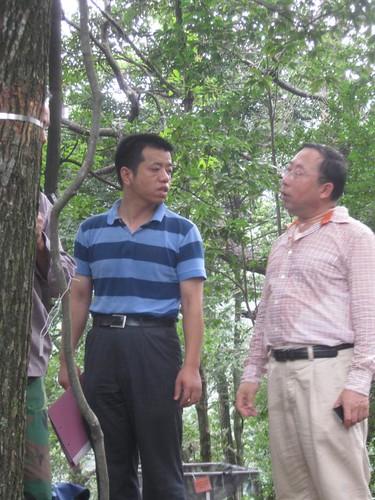 Sat, 09/19/2009 - 22:26 - Dr. Mi Xiangcheng and Ma Keping inspect dendrometer band. Credit: CTFS