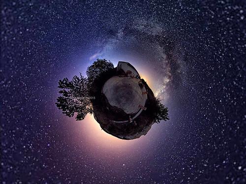 road trees sea sky panorama house night stars island star croatia 360 astro fisheye more galaxy planet astronomy stary vr adriatic hrvatska krk otok jadran milkyway jadransko littleplanet mlecniput
