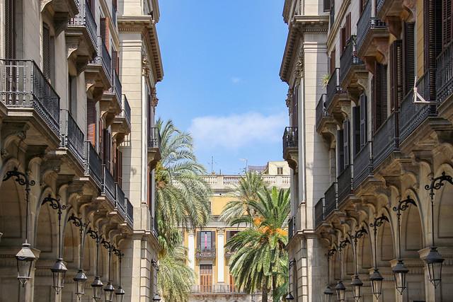 Barcelona La Rambla side street view