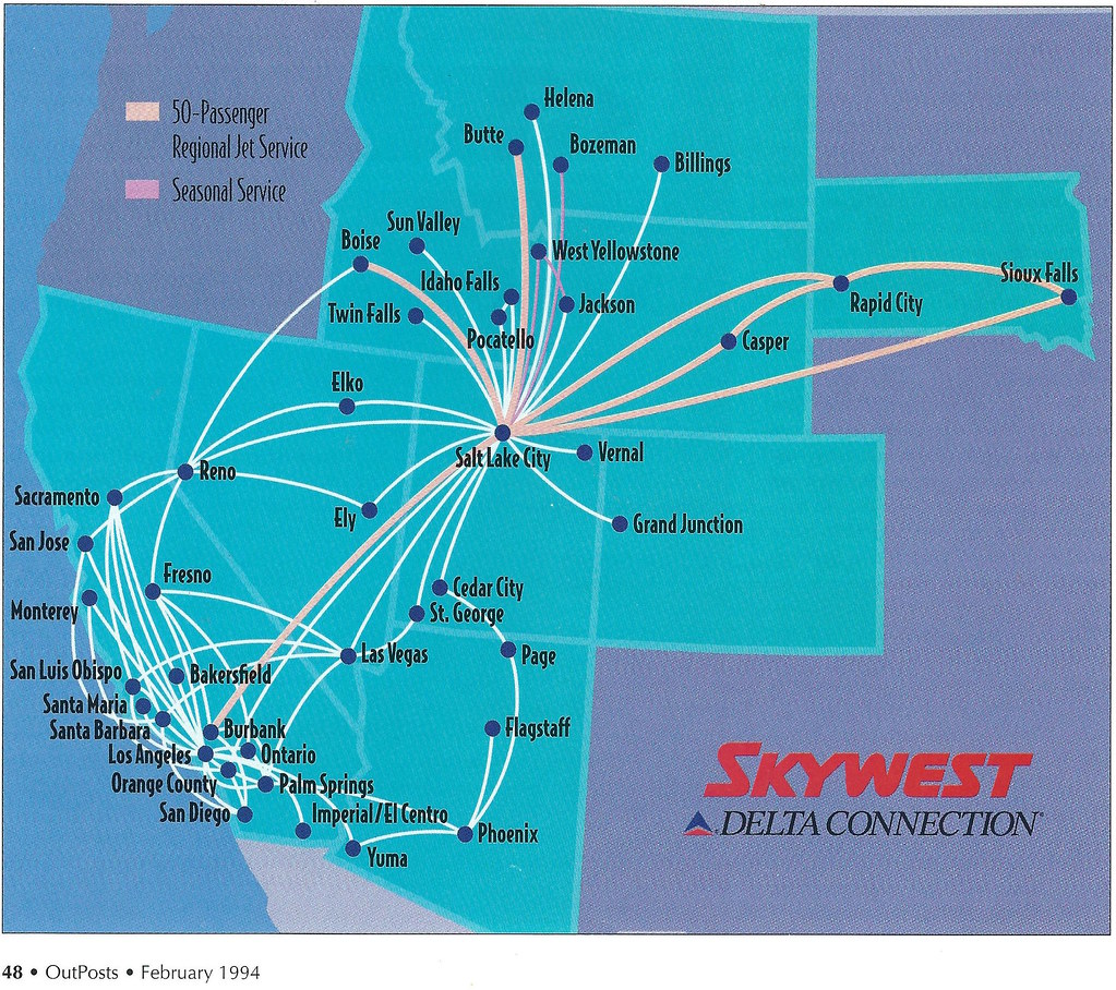 First SkyWest RJ route map, 1994 | The first SkyWest Airline ... on american route map, airtran airlines route map, pacific wings route map, air macau route map, national airlines route map, delta air lines route map, jetblue airlines route map, delta international route map, frontier airlines route map, key lime air route map, expressjet route map, atlas air route map, volaris route map, independence air route map, trans states airlines route map, island air route map, tap air portugal route map, luxair route map, united route map,