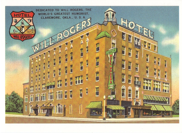 Route 66 Will Rogers Hotel Postcard