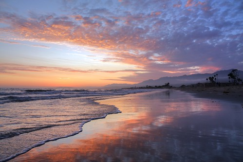 california santa trees sunset sky beach reflections sand waves palm hills barbara cooling kennelly