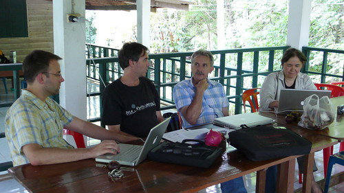 Thu, 07/10/2008 - 14:48 - Arthropod research group discuss program at Khao Chong. L-R: David Lohman, Yves Basset, Rod Eastwood and Naomi Pierce. Credit: CTFS