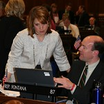 Rep. Melissa Olson discussing legislation with Rep. Steve Fontana on April 22nd, 2009