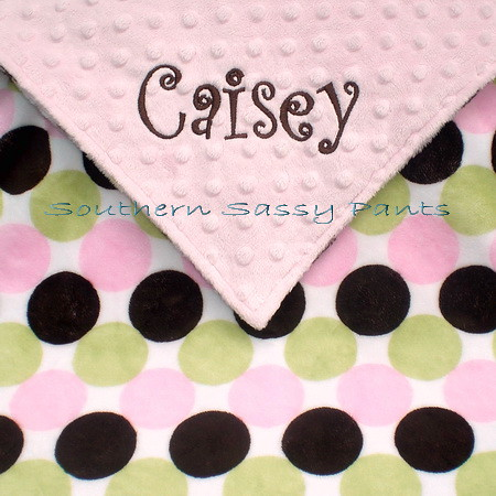 Retro Dot Minky Baby Blanket