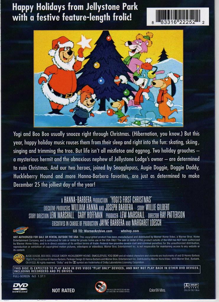 Hanna Barbera Christmas Dvd.Yogi S First Christmas Dvd Back Cover Artwork Irweasel