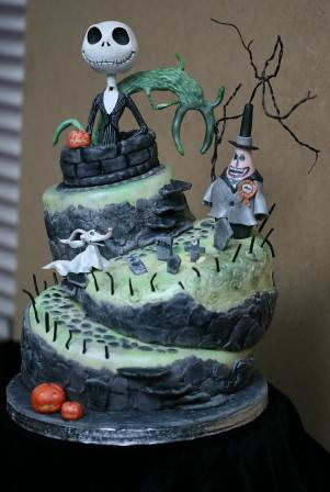 Astounding Nightmare Before Christmas Topsy Turvy Wonky Birthday Cake Flickr Personalised Birthday Cards Paralily Jamesorg