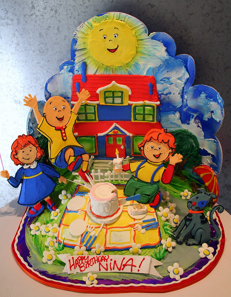 Fantastic Caillou Birthday Cake Figures And Background Non Edible D Flickr Funny Birthday Cards Online Elaedamsfinfo