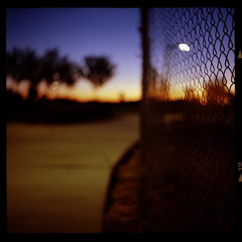 park 120 6x6 tlr film sunrise fence mediumformat square lasvegas bokeh sidewalk twinlensreflex yashicad canoscan8800f ektar100