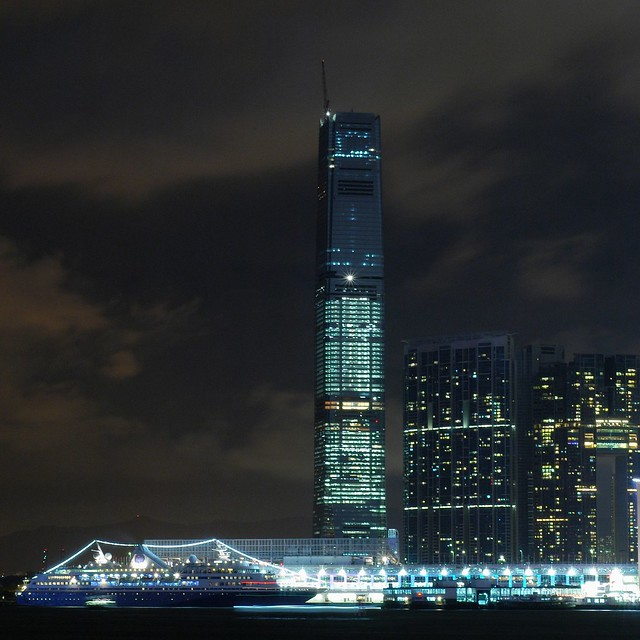 Hong Kong - ICC and Ocean Terminal at night