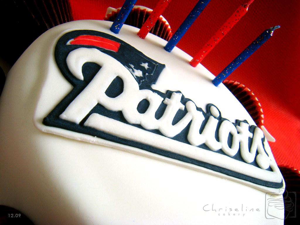 Sensational New England Patriots Logo Close Up Royal Icing On Fondant Flickr Funny Birthday Cards Online Elaedamsfinfo