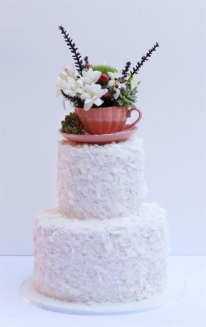 Coconut Textured Fresh flower Cake