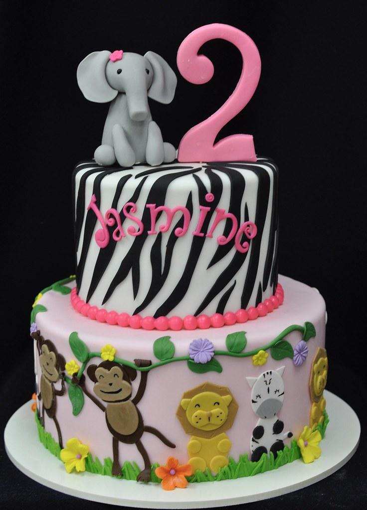 Marvelous Pink Safari Birthday Cake Jenny Wenny Flickr Funny Birthday Cards Online Alyptdamsfinfo
