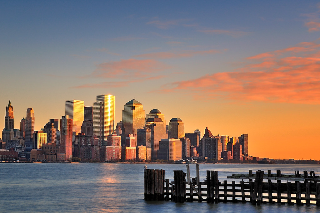 Late afternoon over the Financial District, NYC, from Pier A Park, Hoboken by andrew c mace