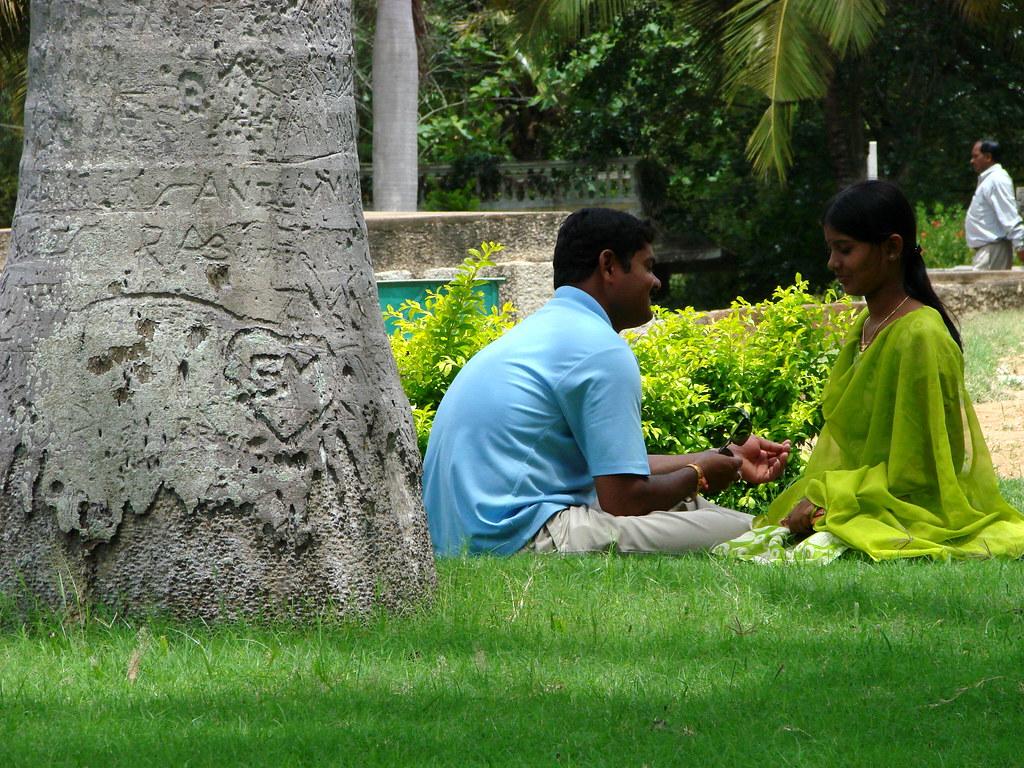 Couple outside Temple of Somnathpur - Near Mysore - India