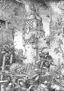 Grimoire Siege - I was asked to show both sides of the city walls at the same time in this Lone Wolf siege scene.  The burning towers, grim faced defenders, crazed goblins and giant lizard, I made up for myself. | by widdershins3