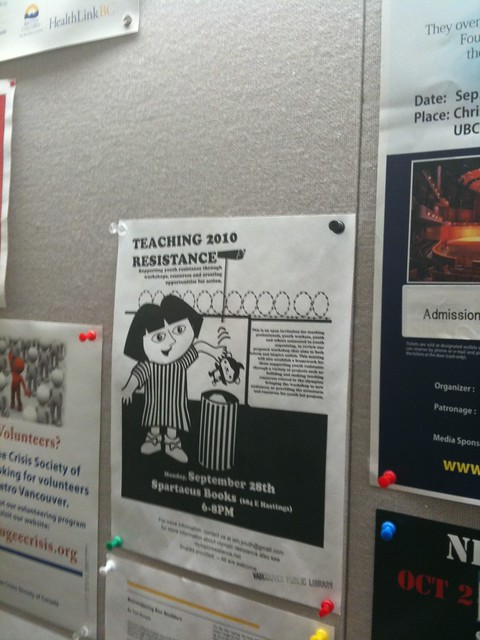 Teaching 2010 Resistance flyer at the Vancouver Public Library